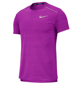 Nike Running Tee Mens Authentic Dry Miler Short Sleeve Vivid Purple Small to XL $24.99