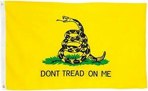 3x5ft Dont Tread On Me Gadsden Flag Outdoor Yellow Rattle Snake Tea Party Banner