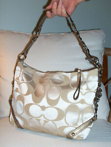 Coach Shoulder Purse Classic Logo Pockets Gold amp; Satin Some Wear FREE SHIPPING