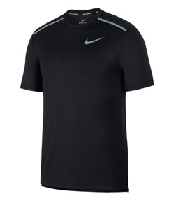 Nike Running Tee Mens Authentic Dry Miler Training Black Reflective Small to 2XL $23.99