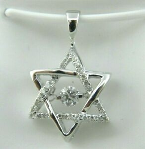 Star of David Floating Diamond Pendant 14k White Gold . DIA 0.33 Tcw.