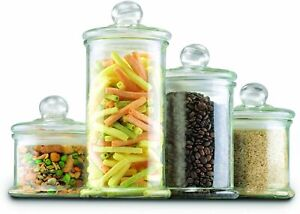 Anchor Hocking Glass Apothecary Jar Canister Set with Ball Lid 4 Piece Set