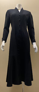 Vintage Black Wool Dress GILLIAN Designer Long Sleeve MIDI Neiman Marcus Size 6