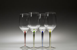 Wine Glasses with Multi Colored Stems