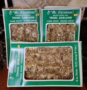 3 Vintage Tinsel Garland 18 ft Mr. Christmas Gold Deluxe Extra Full New In Box