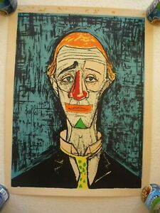 Bernard Buffet TETO THE CLOWN 20quot; X 26quot; Mid Century Art Litho Signed quot;Buffetquot; $79.00