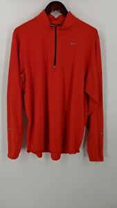 Nike Running Pullover RED Long Sleeve 1 2 Zip Dri Fit Poly Spandex Mens Size XL $13.88