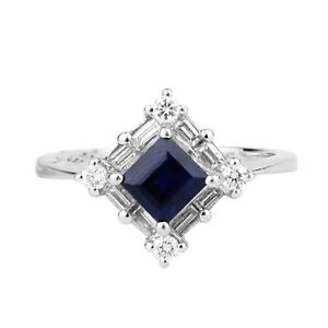 1.34ct Natural Sapphire Engagement Ring Diamond 18k White Gold Jewelry