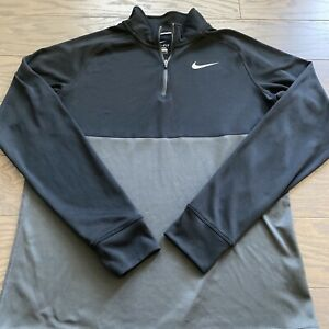 Nike Running Dri Fit 1 4 Zip Black Pullover Sweatshirt Lightweight Large L EUC $24.95