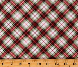 Cotton Diagonal Plaid Red Green White Silver Fabric Print by the Yard D400.38