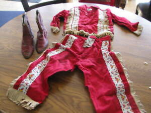 VINTAGE CHILDS COWBOY GIRL OUTFIT with boots size 4