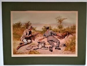 Antique Lithograph FREDERIC REMINGTON #x27;Goose Shooting#x27; 1890 Hunting Cowboy Sport