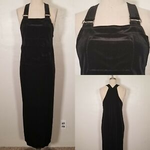 Vintage Small 90s Velvet Stretchy Black Jumper Overall Dress Grunge Goth Witch