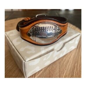 "Plunder Mini Football Cuff Bracelet Silver antique on brown leather 6.5"" 8.5"" $19.99"