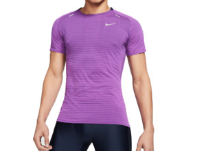 Nike Running Tee Mens Authentic TechKnit Short Sleeve Run Reflective Purple Slim $29.99