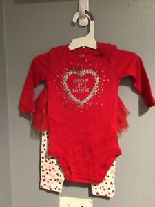 Baby Girls Sweetest Little Valentine Tutu Bodysuit Set Just One You 3T $12.99