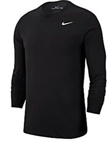 AUTHENTIC NIKE AIR DFC SOLID L S CREW DRY T SHIRT BV7969 010 $34.99