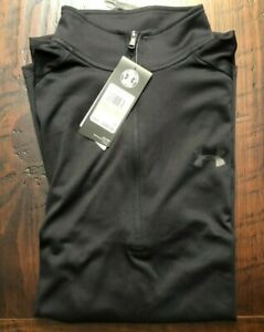 Under Armour 1 2 Zip Heat Gear Shirt Pullover Mens Running NWT Black Medium M $35.00