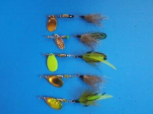 5 trout lures lot spinners handmade inline spinner bass fishing tackle stream