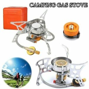 Outdoor Camping Gas Stove Portable Foldable Windproof Cooking Burner w Adapter