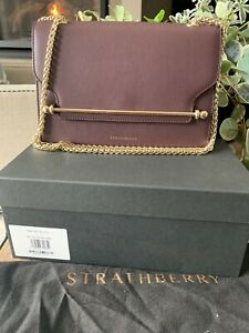 NWT Strathberry East West Leather Shoulder Crossbody Bag with Orig Box Burgundy $489.99