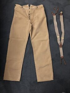 Old West Outfitters Brown Duck Trouser Pant 36 X 33.5 Suspenders Button Fly USED