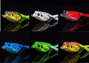 Topwater Frogs Lures 6 PCS Hollow Body Soft Fishing Lure Kit for Bass Pike