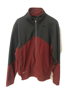 Nike Fit Therma Soft Shell Jacket Mens Small Fleece Lined Full Zip Maroon Gray $19.99