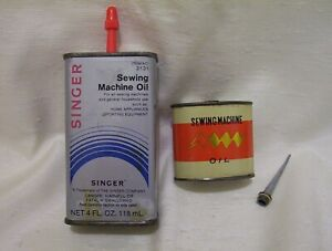 SINGER SEWING MACHINE OIL CAN 4 OZ 2131 amp; SMALL OIL CAN SCREW TOP ANTIQUE $15.00