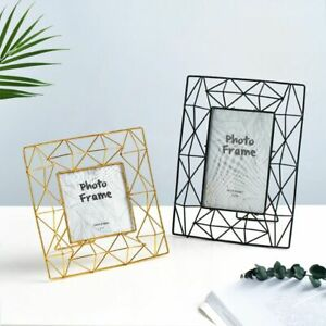 Metal Hollow Creative Square Modern Style Desk Table Vertical Photo Frame gift $29.75