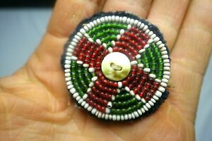 Native American bead work antique on wool emblem $24.00
