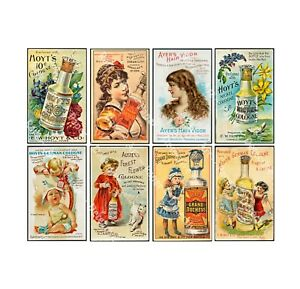 APOTHECARY Vintage Trade Card Advertising Sticker Sheet Antique REPRODUCTIONS $7.15