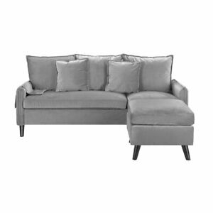 Classic Velvet Sectional Sofa L Shape Couch Armrest Pocket Grey Sofa Small Couch