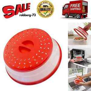 Microwave Cover Plate Splatter Lid Food Steam dish Clear Guard Vent Collapsible