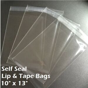 10quot; x 13quot; Clear Recloseable Self Seal Adhesive Lip amp; Tape Plastic Cello Bags