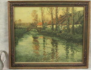 antique signed print LANDSCAPE PAINTING Norwegian artist FRITS THAULOW framed $69.00