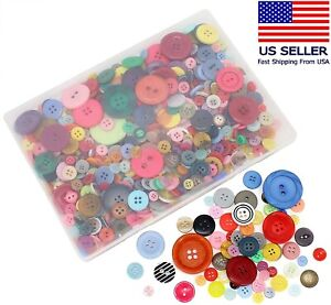 Craft DIY Buttons About 600PC Mixed Colors Assorted Sizes Round Resin Decoration $8.69