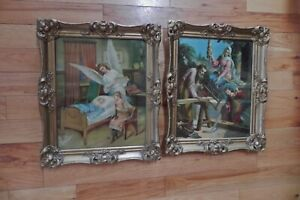 Antique Gold Gesso Ornate Frames 2 With Glass amp; Religious Prints $175.00