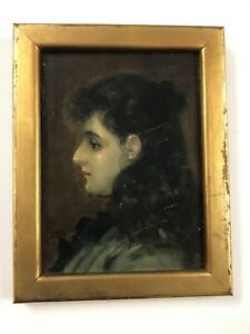 Antique Signed Portrait On Wood Panel $149.00