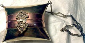 DESIGNER EVENING BAG ANTIQUE 1930#x27;s COPPER BRASS BLUE VELVET LINING PURSE