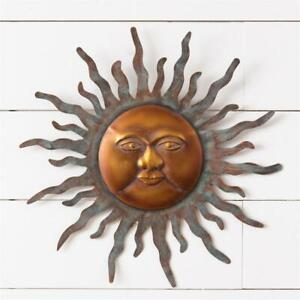 SUN Metal Wall Art Garden Sculpture 3D Wall Decor 16quot; Wall Hanging Sun Face $26.95