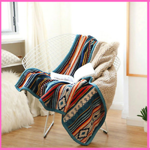 Sofa Blanket Super Soft Retro Flannel Fleece Bohemian Couch Throw Portable Cover