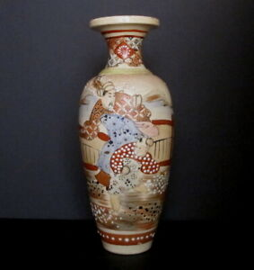 Antique Japanese Hand Painted Satsuma Figural Vase Moriage Accents 12 Signed