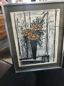 Vintage 1968 Original Framed Lithograph Print Flower by Bernard Buffet. Signed $46.00