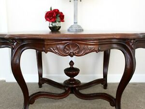 Beautiful Cherry Wood Hand Carved Antique Table Partners Table $595.00