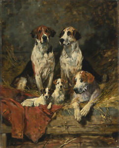 FRAMED CANVAS ART PRINT Giclee john emms four foxhounds dogs puppies hunting