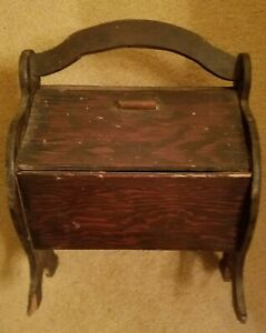 VINTAGE WOODEN DOUBLE DOOR SEWING BOX $20.00