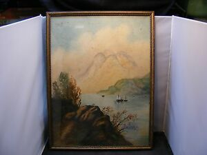 antique painting seascape $100.00