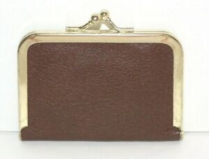 Vintage Travel Sewing Kit Burgundy Leather Case Pouch Mini Purse $12.00