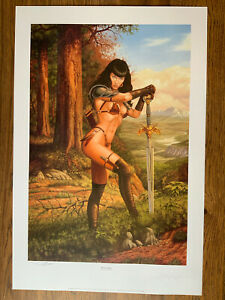 Bettie Page Larry Elmore Art Print Signed amp; Numbered Lithograph Autographed $50.00